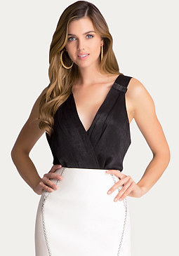 bebe Pleated Surplice Bodysuit