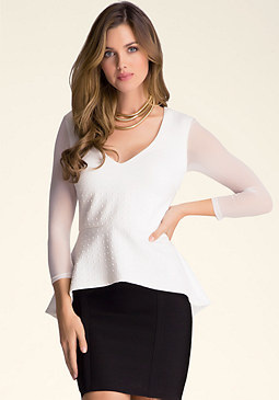 bebe Embossed Scuba Peplum Top
