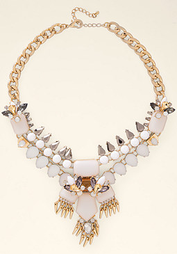 bebe Opaque Stone Spike Necklace