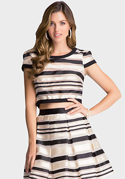Sheer Stripe Woven Top at bebe