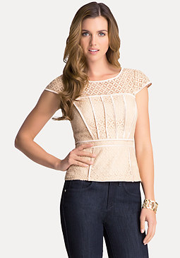 bebe Mixed Lace Peplum Top