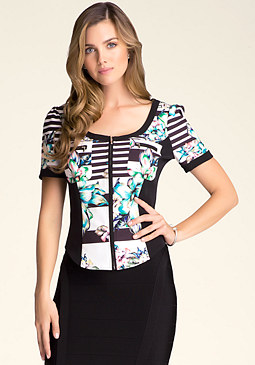 bebe Print Patch Pocket Top