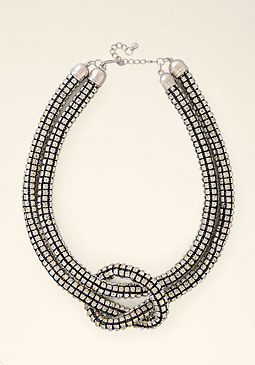bebe Crystal Knot Necklace