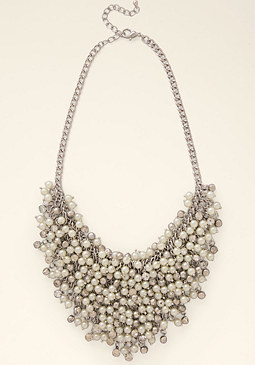 bebe Crystal & Pearl Necklace