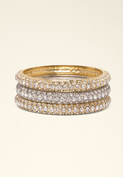 Rhinestone Bangle Set at bebe