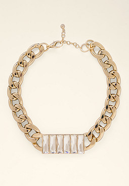 bebe Crystal Baguette Necklace