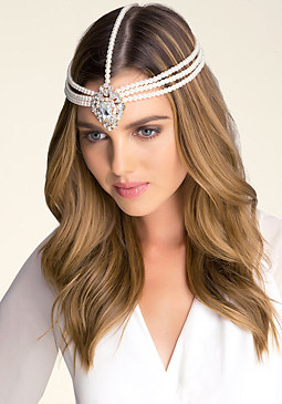 bebe Crystal & Pearl Head Chain