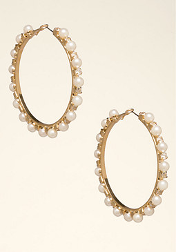bebe Pearl Station Hoop Earrings