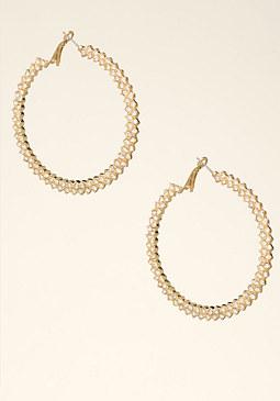 bebe Jagged Crystal Earrings