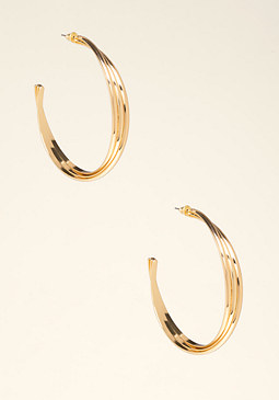bebe Twisted Metal Hoop Earrings