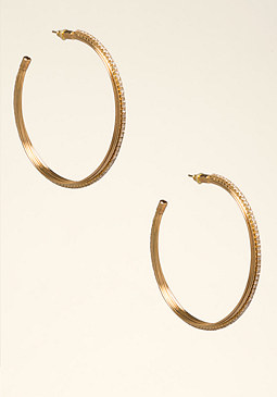 bebe Sparkly Coil Hoop Earrings