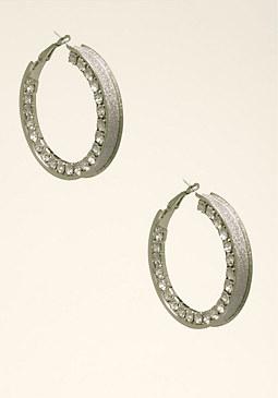 Crystal Hoop Earrings at bebe