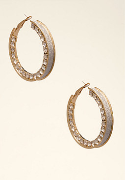 Crystal Hoop Earrings at bebe