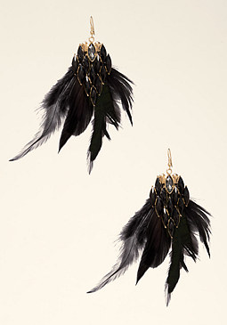 bebe Stone Drop Feather Earrings