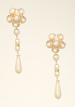 bebe Pearl Cluster Drop Earrings