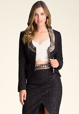 Rosalia Embellished Jacket at bebe