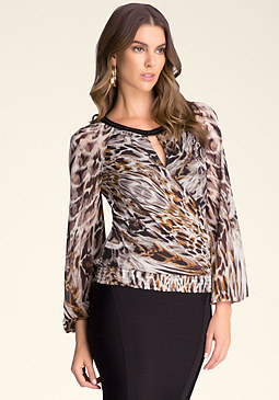 bebe Bead Neck Blouson Top