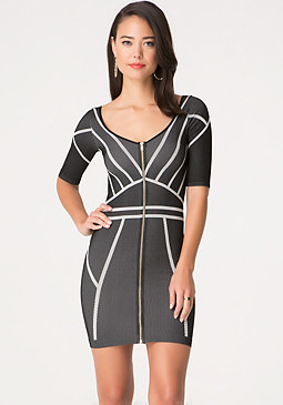 bebe Jacquard Zip Dress