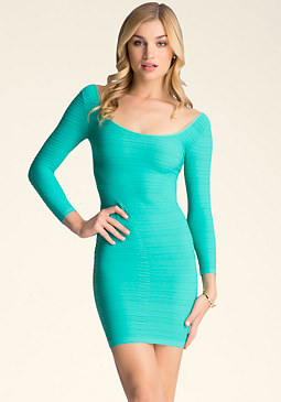 bebe Mixed Texture Dress