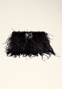 bebe Clara Feather Clutch