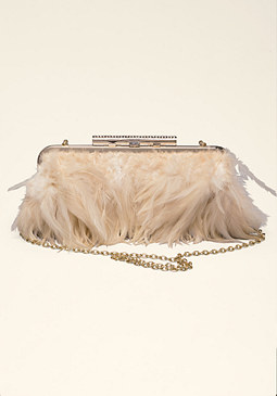 bebe Karina Feather Clutch