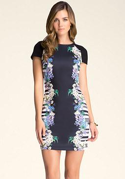 bebe Print Scuba Dress