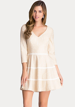 bebe Lace Flared Dress
