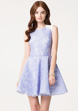 bebe Bonded Lace Flared Dress
