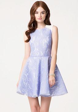 bebe Bonded Lace Flared Dress