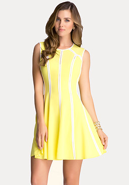 bebe Crepe Fit & Flare Dress