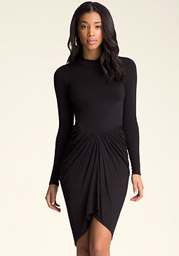bebe Mock Neck Draped Dress