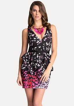 bebe Double V-Neck Flutter Dress
