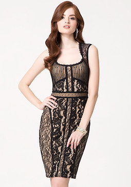 bebe Mix Lace Midi Dress