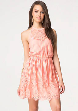 bebe Striped Lace Halter Dress