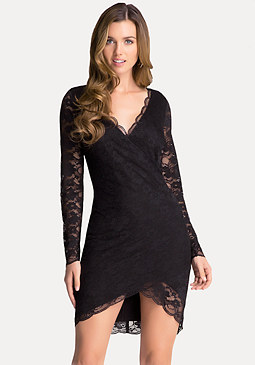 bebe Lace Surplice Dress