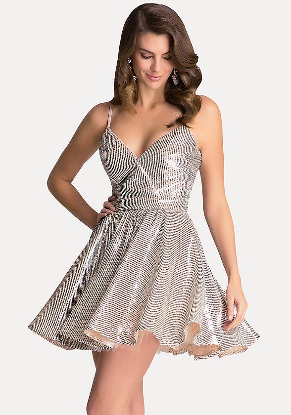 Bebe Gold Sequin Dress
