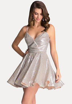 SEQUIN FIT FLARE DRESS at bebe