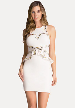 bebe Studded Ponte Peplum Dress