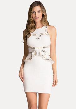 bebe Studded Ponte Peplum Dress
