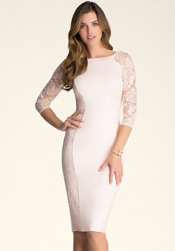 bebe Curve Seam Lace Midi Dress
