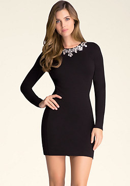 bebe Embellished Neck Dress