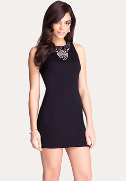 bebe Embellished Ponte Dress