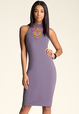 bebe Embellished Midi Dress