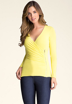 bebe Zip-Up Surplice Top