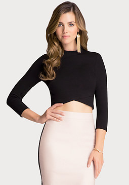 bebe Mock Neck Crop Top