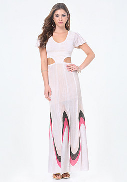 bebe Flutter Sleeve Maxi Dress