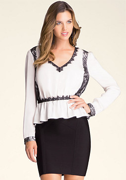 Lace Inset Peplum Top at bebe