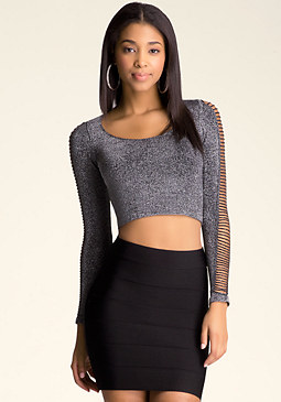 bebe Slash Shimmer Top