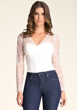 bebe Lace Bustier Bodysuit