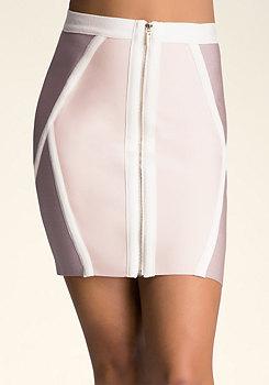 bebe Colorblock Bandage Skirt